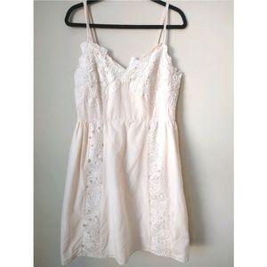 Esley Cream Spaghetti Embroidered Dress